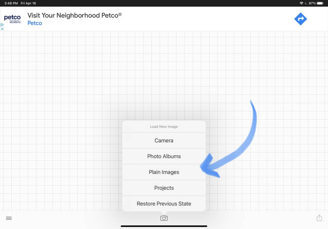 tap on plain images to bring up canvas choices