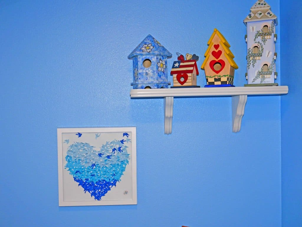 Ombre Blue Bird Heart Shadow box hanging in my Mom's themed bathroom, she loves it!