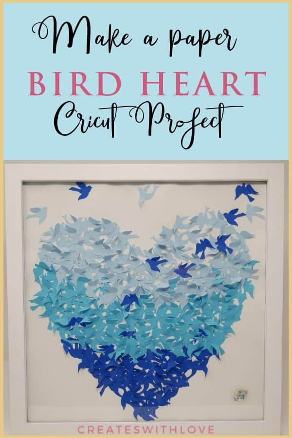 Ombre Bird Heart Shadow Box Cricut Project Tutorial Creates With