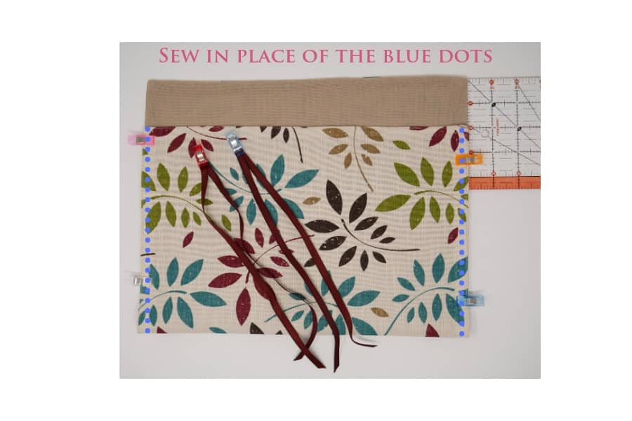 showing where to fold the placemat and then to sew each side of placemat