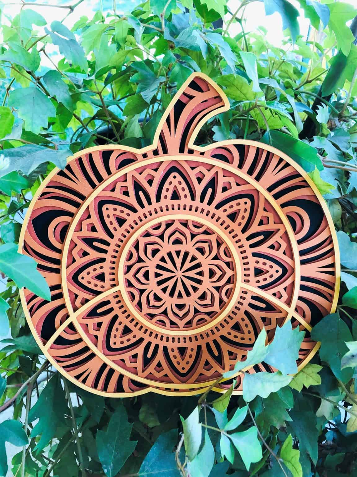 black, orange, burnt red and gold cardstock layered pumpkin design