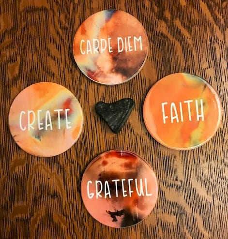 four infusible ink ceramic coasters
