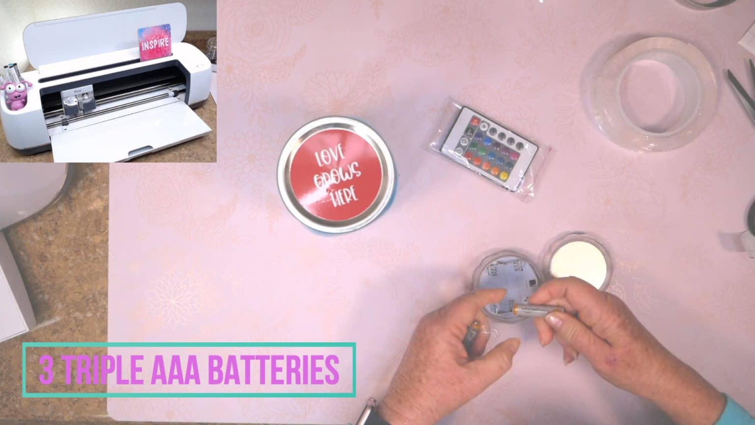 Add 3 AAA Triple Batteries to canning jar light