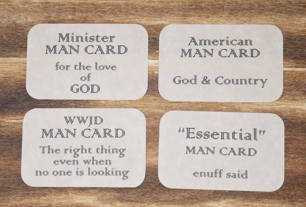 four man cards with different sayings such as, Minister man card for the love of god.