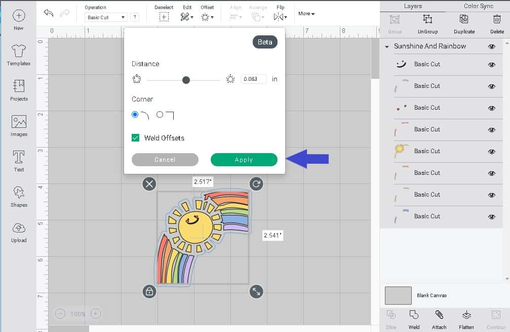 once happy with your cricut offset you can click on the apply button