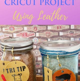BBQ Rub in jar with leather gift tags using cricut