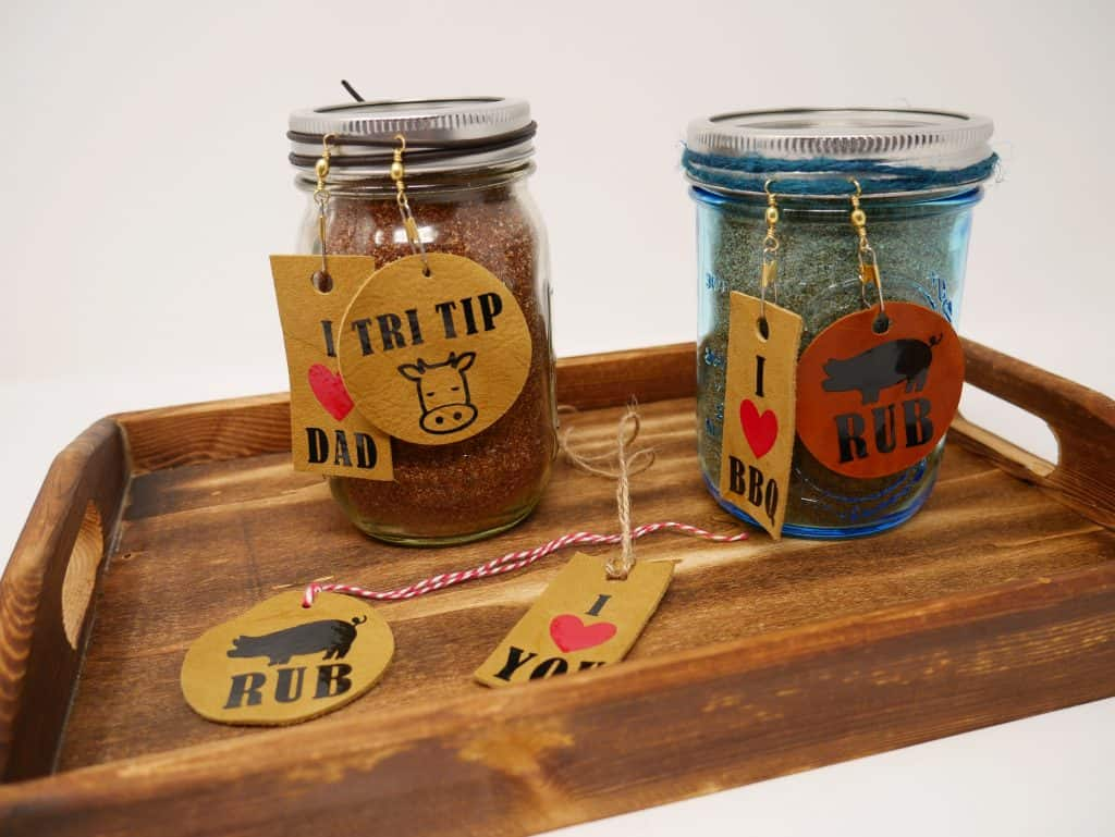 BBQ Rub in jars with gift tags