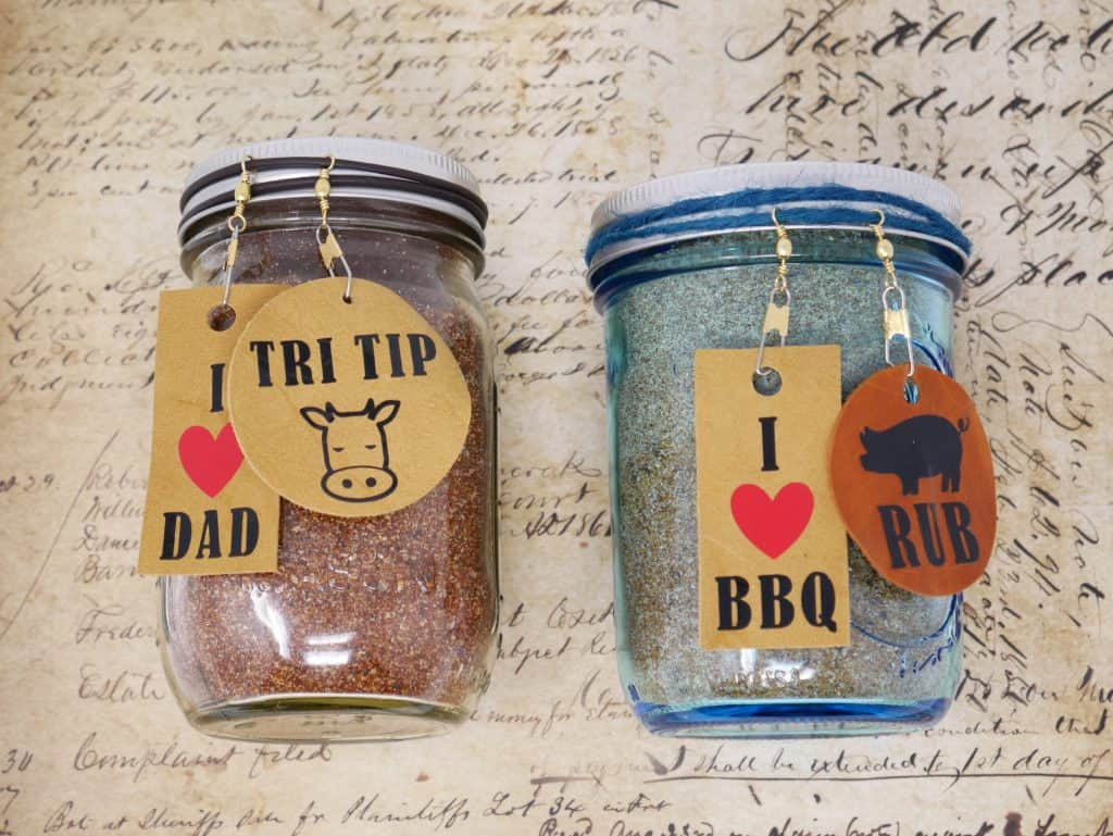 BBQ Rubs in jars with tags