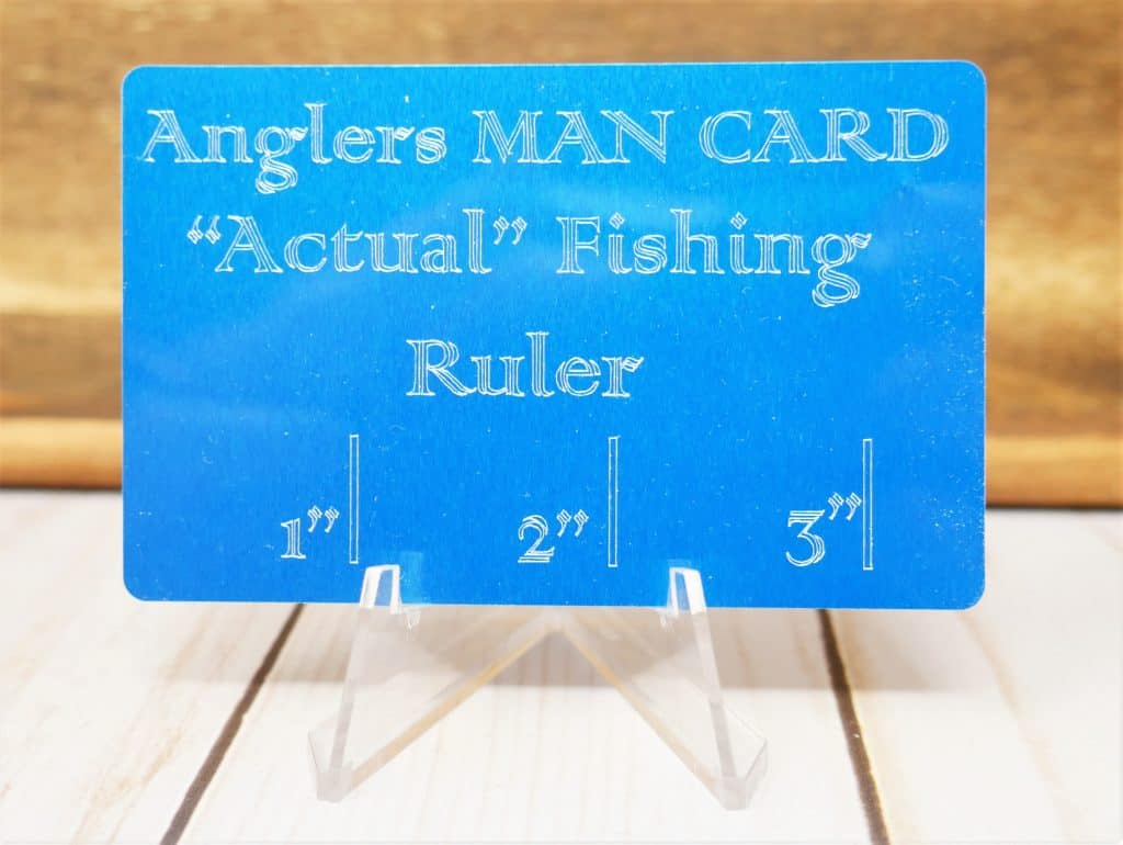 "Anglers Man Card, ""Actual Fishing Ruler with 1, 2 & 3 inch marks."