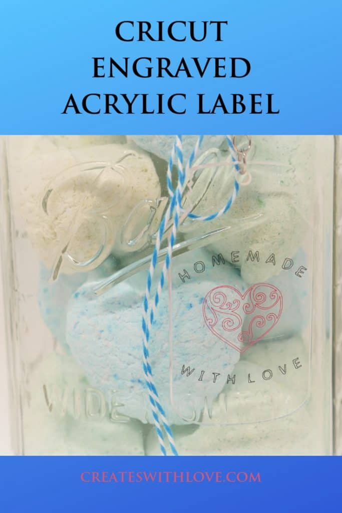cricut engraved acrylic label on a canning jar