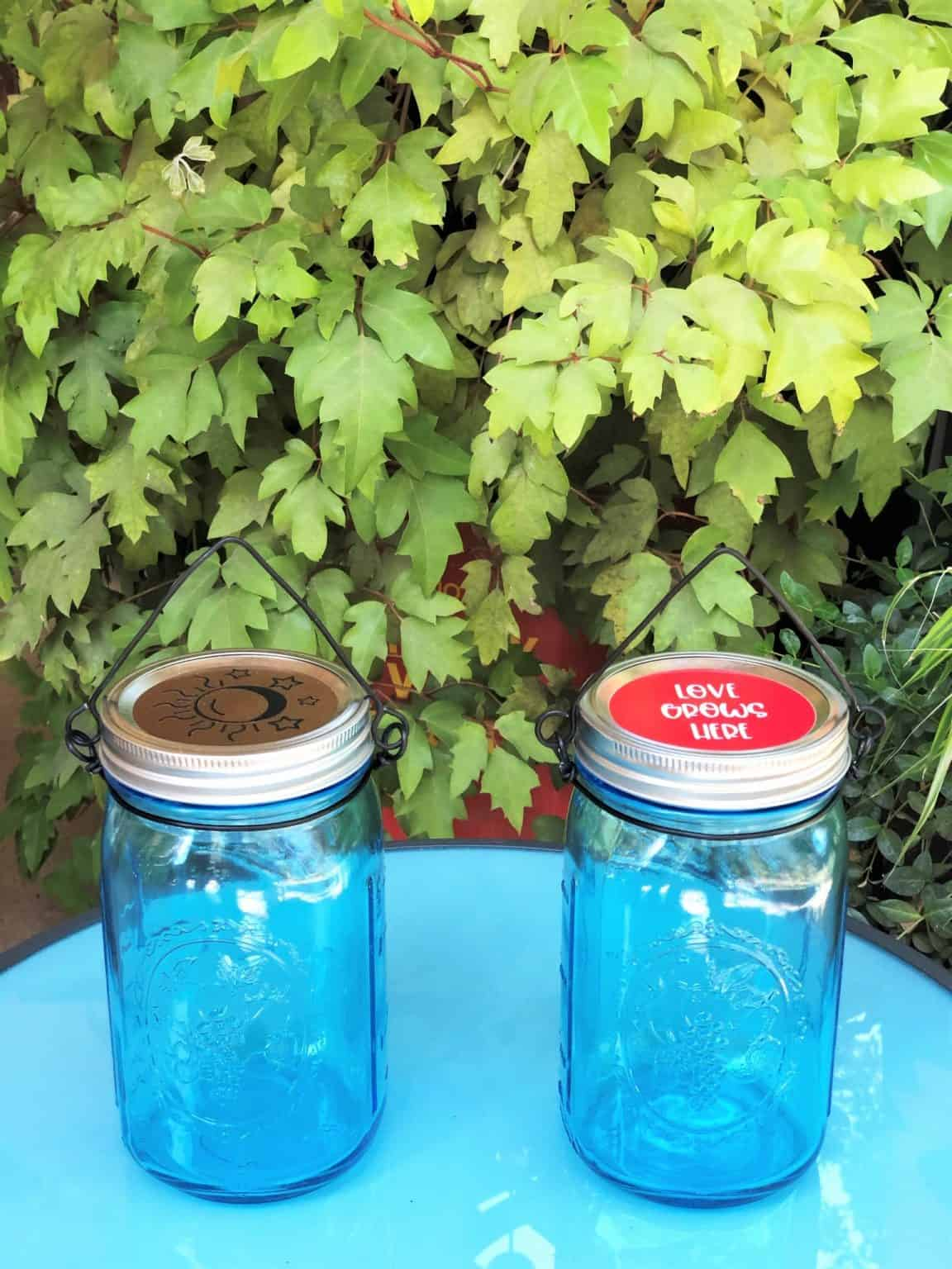 2 Mason Canning Jar Lights with Wire hangers