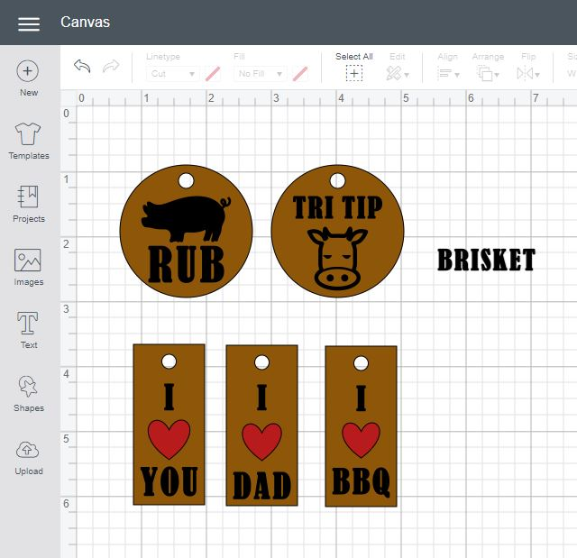 Cricut Design Space File showing the leather gift tags templates already to make