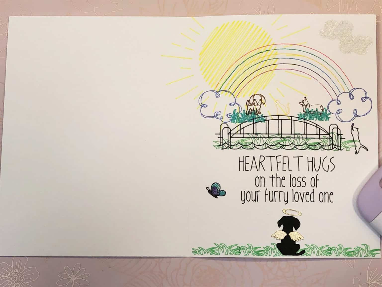 a cricut drawing project card with a rainbow and bridge in the design