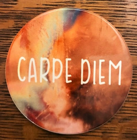 infusible ink coaster with the quote carpe diem