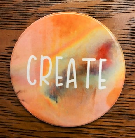 infusible ink coaster with the word create