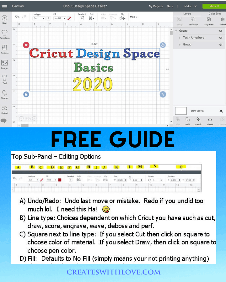 Cricut Design Space Tutorial covering the Basics to get started using Cricut Design Space for Beginners