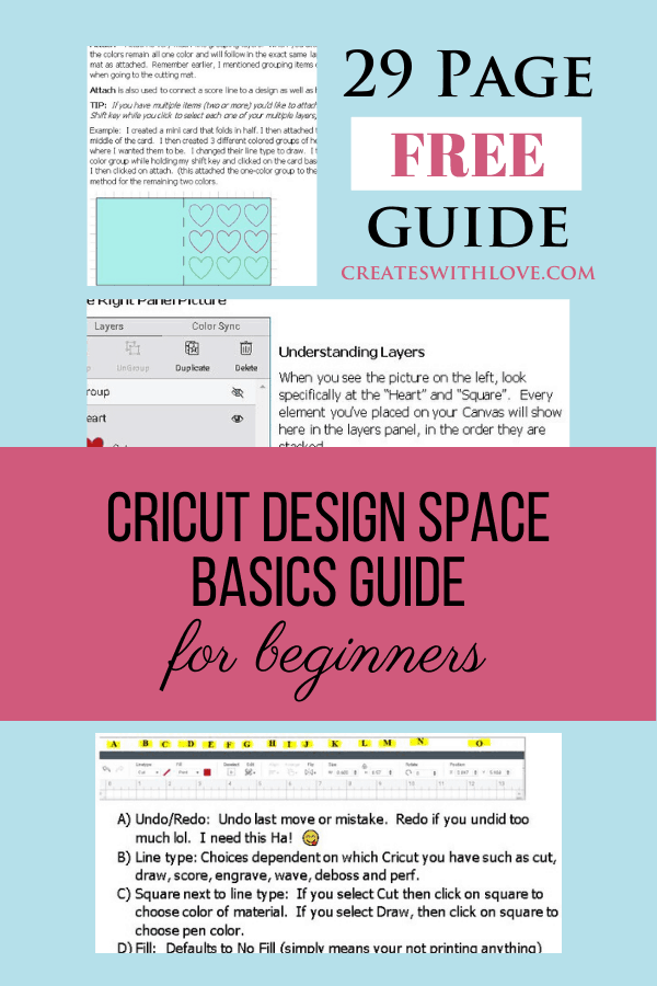 Cricut Design Space Tutorial Free 29 page guide for beginners learning how to use Design Space.  There is also a free video to show the steps of attach, weld, group, slice, contour, flatten and more!  #cricut  #cricutdesignspace #cricutbeginner
