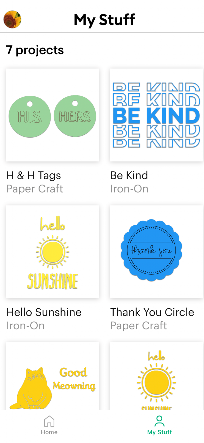 this picture shows multiple designed projects in the cricut joy app.