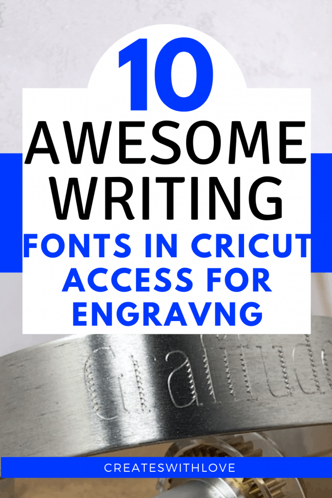 How to engrave aluminum bracelets with your Cricut Maker and the 10 best fonts in Cricut Design Space to use for engraving projects.  Cricut Maker | Cricut Maker Engraving | Cricut Maker Engraving projects | Cricut Maker Engraving projects to sell | Cricut Maker projects to sell |  Cricut Maker Engraving tool | Cricut projects beginner. #createswithlove #cricutmade #cricutengraving #denisehumphrey via @createswithlove @denisehumphrey