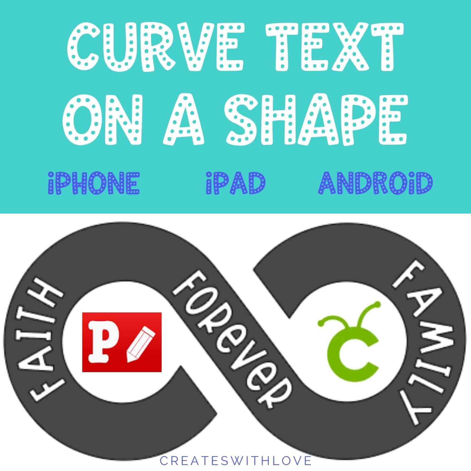 curve text on a shape using iPhone, iPad or Android devices.  This method will work using the Phonto App and Cricut Design Space App.