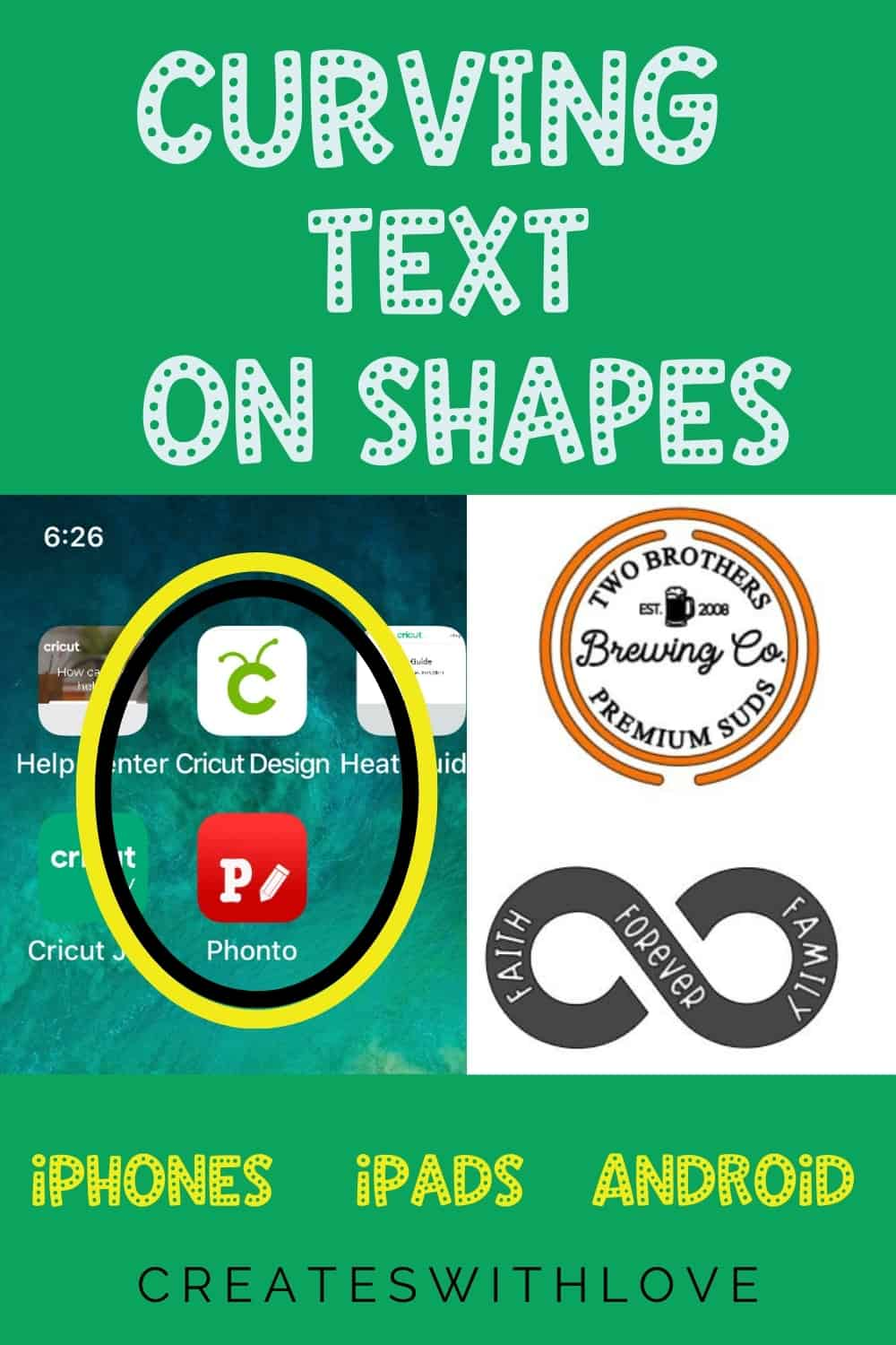 a pin for pinterest showing the phonto app and 2 designs I created using the app.