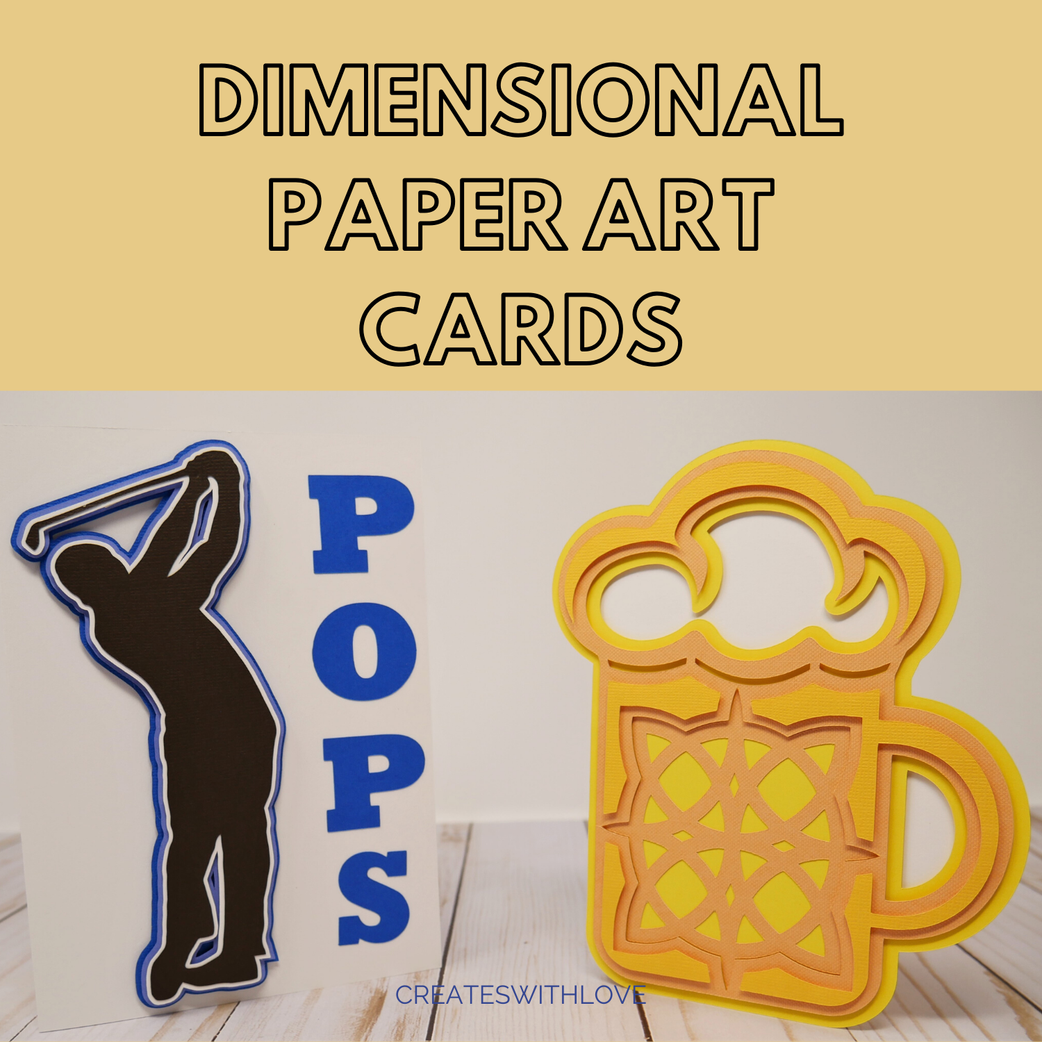Dimensional Paper Art Cards.  Golf and a Beer Themed Paper Art Cards