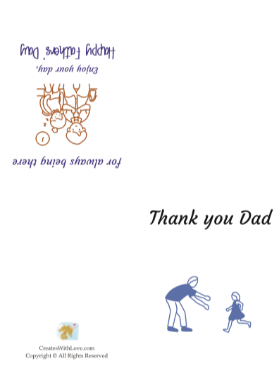 the dad and girl card states thank you with a girl running towards her dad and says thank you dad for always being there.