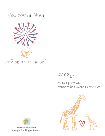 the daddy giraffe card shows a daddy and a baby giraffe with a heart in between them.