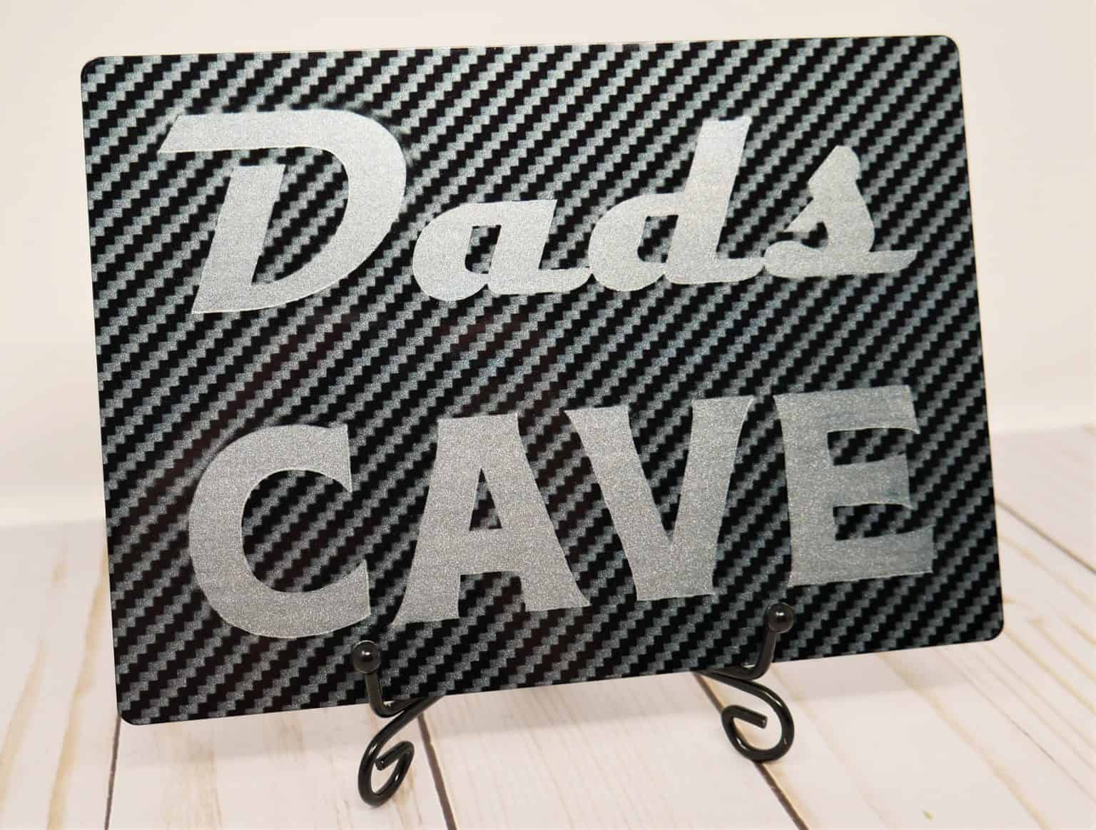 Dads Cave Design using Infusible Ink on Cricuts Aluminum Sheets.