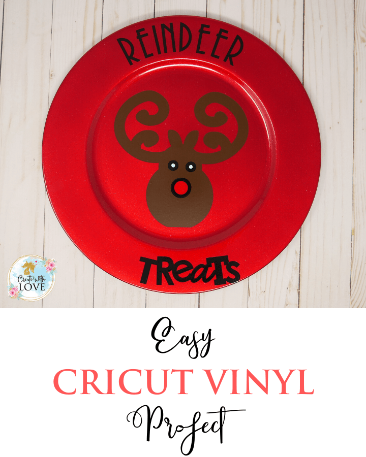easy cricut vinyl project where I take a charger plate and cut some vinyl with the cricut maker and attach the vinyl to the charger plate. An easy quick cricut vinyl project.