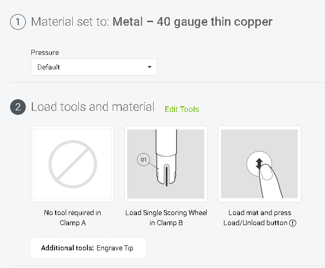 Set the material to Metal-40 gauge thin copper and select edit tools