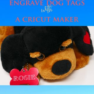 Easily engrave dog tags with a Cricut Maker. Today I took an aluminum dog tag blank that was red in color and used my Cricut Maker to engrave Rosie on it. Turns out really cute and so easy to engrave with your Cricut Maker