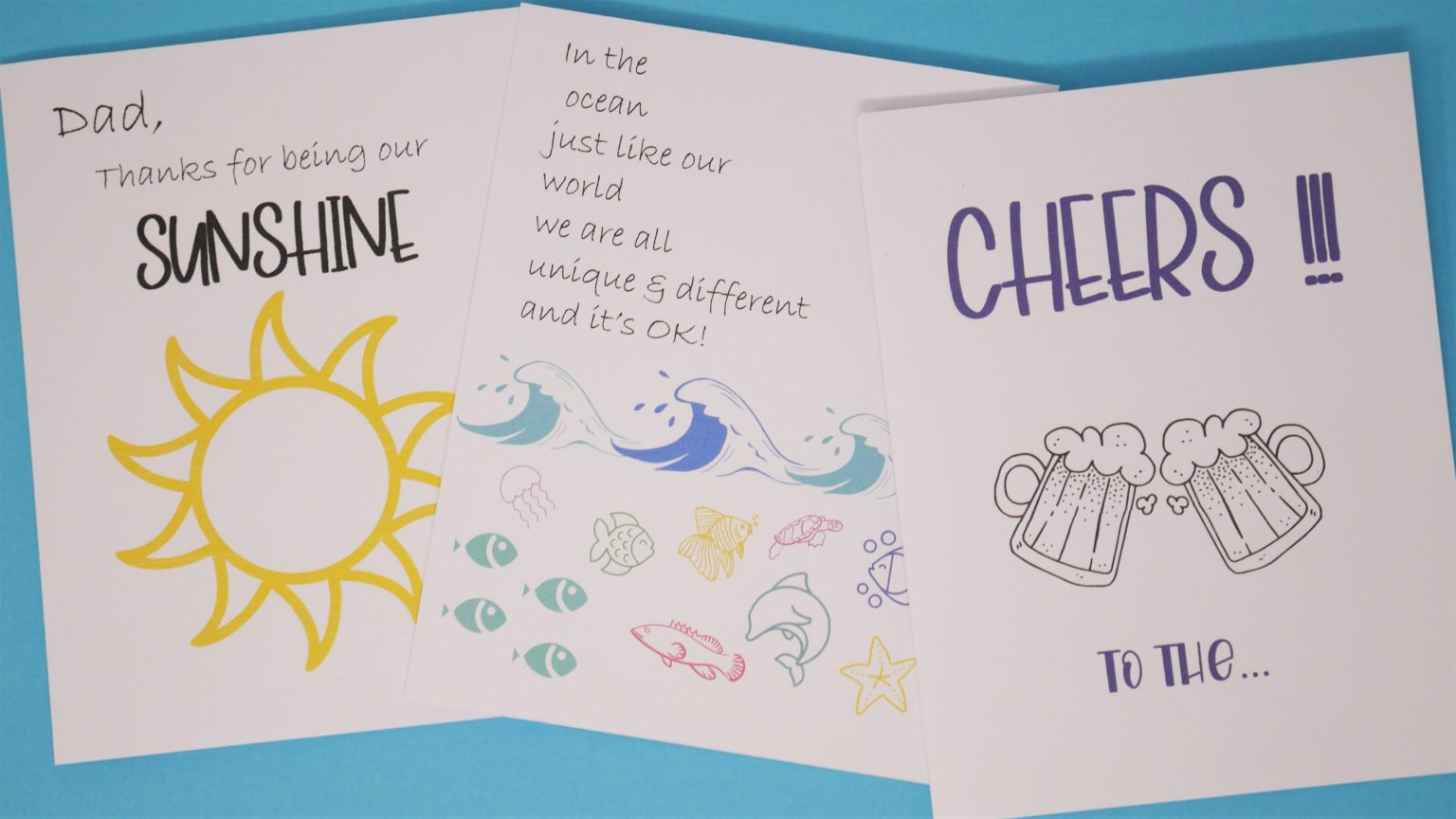 3 specially designed free printable fathers day cards.