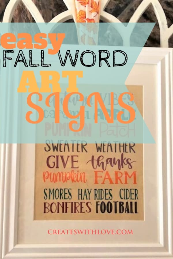 easy fall word art signs
