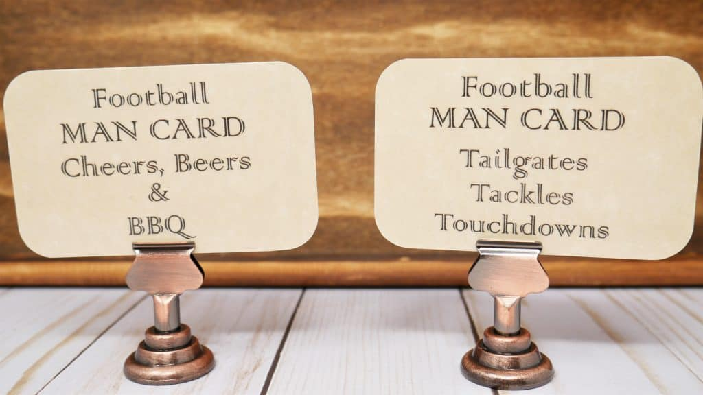 two football man cards, such as, Football man card, cheers, beers & BBQ.