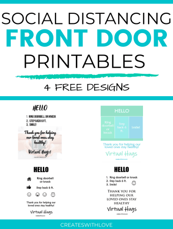 Social Distancing Printables are an easy solution to remind neighbors and visiters that your family is practicing healthy and safe social distancing and it easily sets you up for success instead of having to explain up front. All four designs are free! #socialdistancing #cricutmade #cricut #createswithlove #denisehumphrey