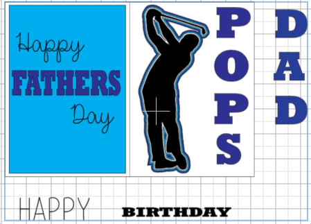 Dimensional Paper Art Golf Card with Happy Father's Day or Happy Birthday sentiments.