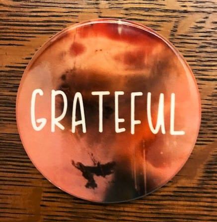infusible ink coaster with the word grateful