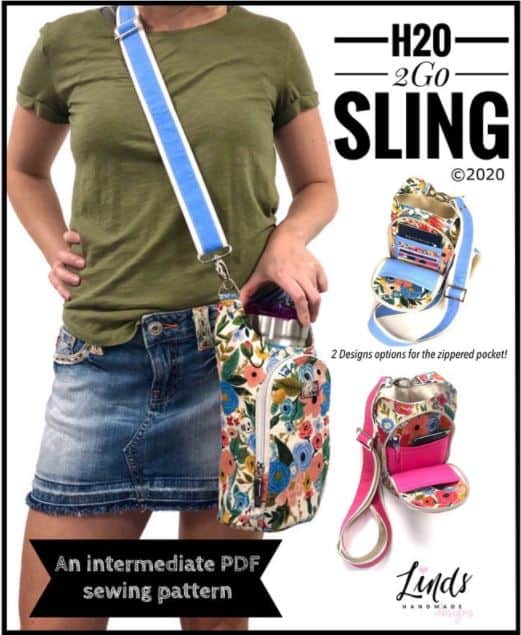 sewing pattern of a bag that you can carry your water bottle in with pockets for cell phone and cards.