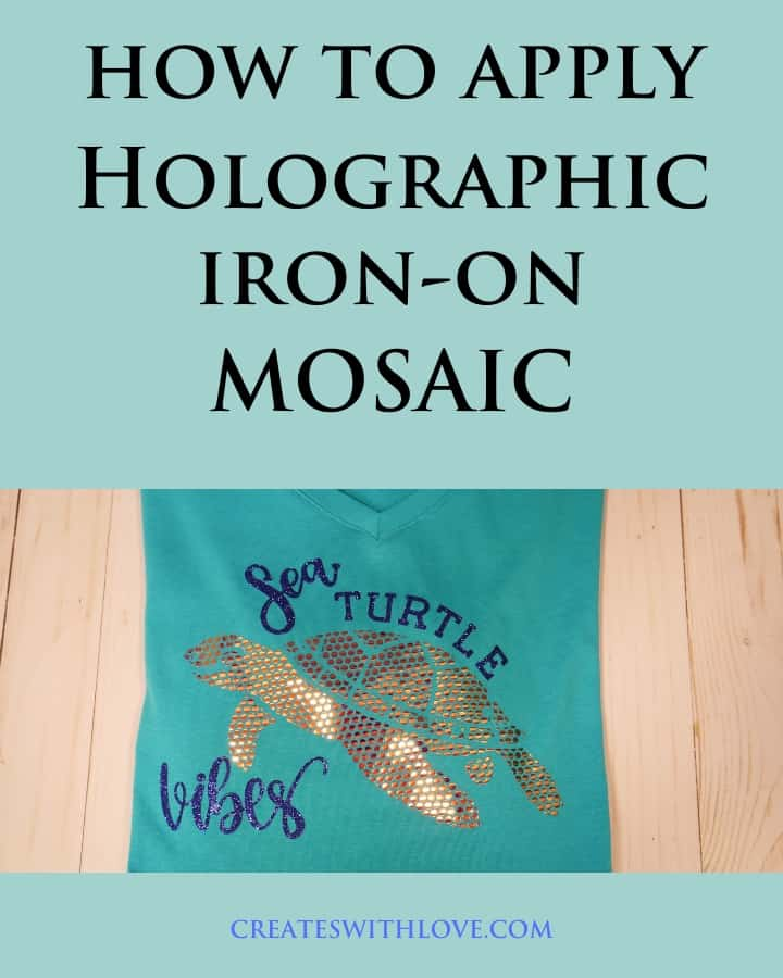 How to apply holographic iron-on mosaic to a t-shirt.  This shirt has glitter iron on and mosaic iron on and the mosaic iron on looks like rhinestones on the shirt.