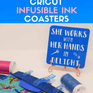 Cricut Infusible Ink Coasters designed in a sewing theme