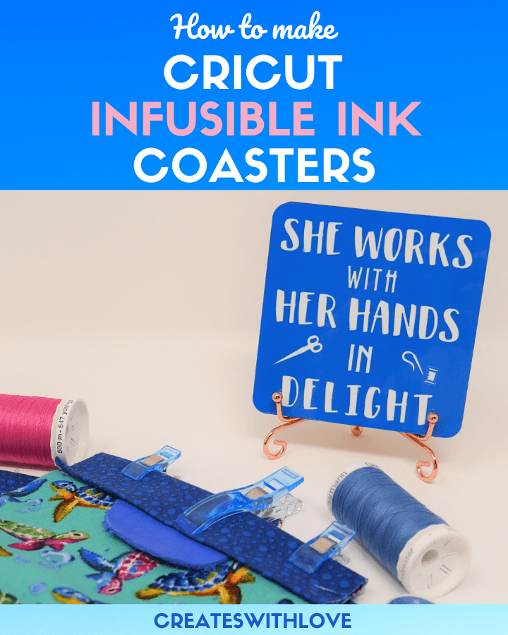 Cricut Infusible Ink Coasters designed with a sewing theme