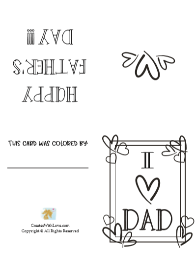 I heart dad fathers day card that someone can color in the hearts and the words.