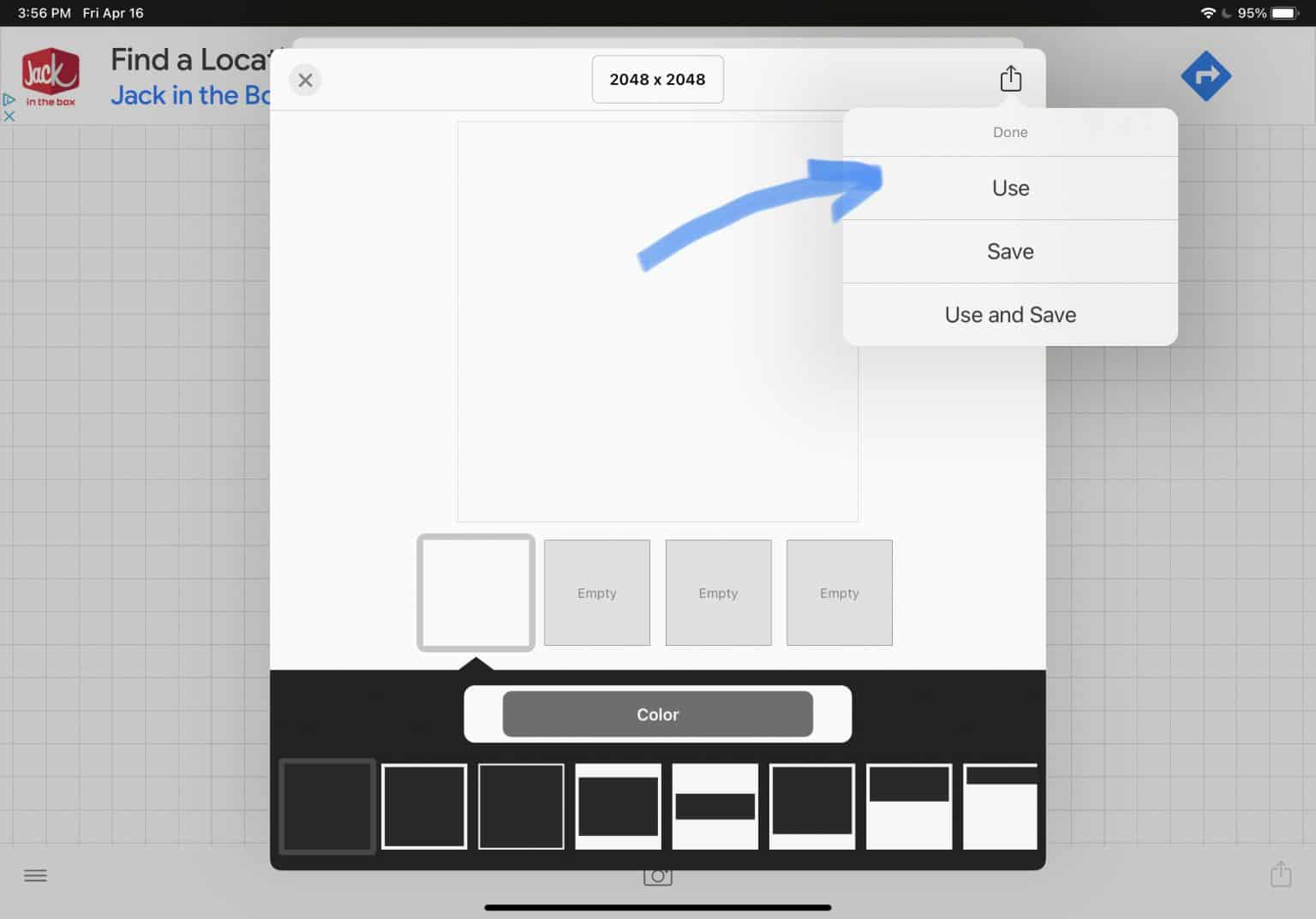 showing the Use option for your canvas choice