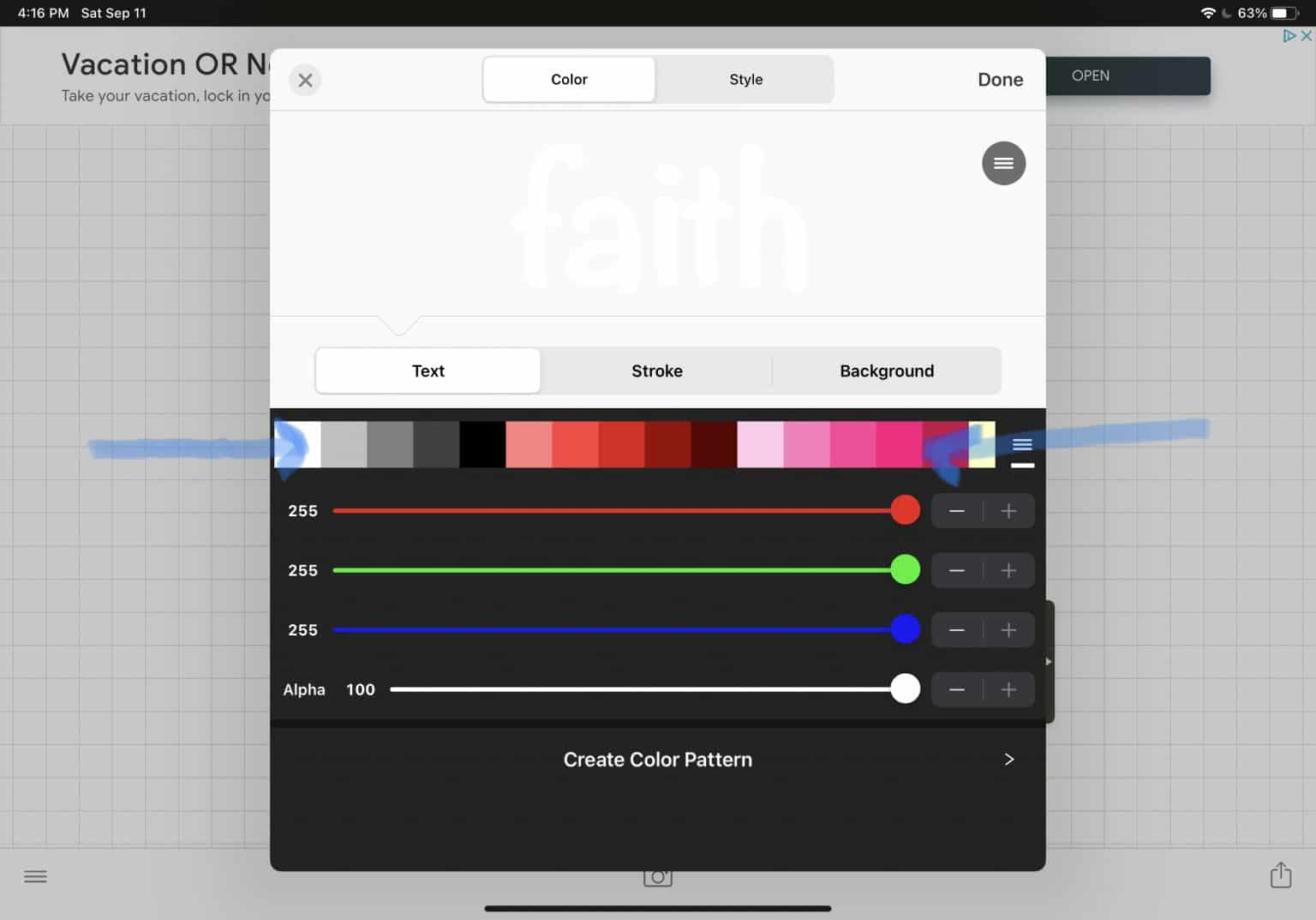 slide color squares to choose color option