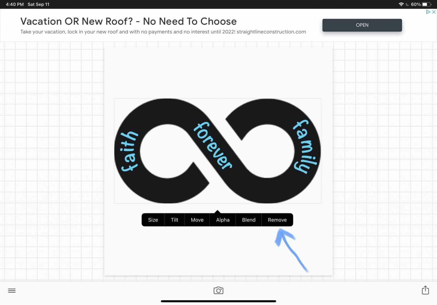 select remove to remove shape