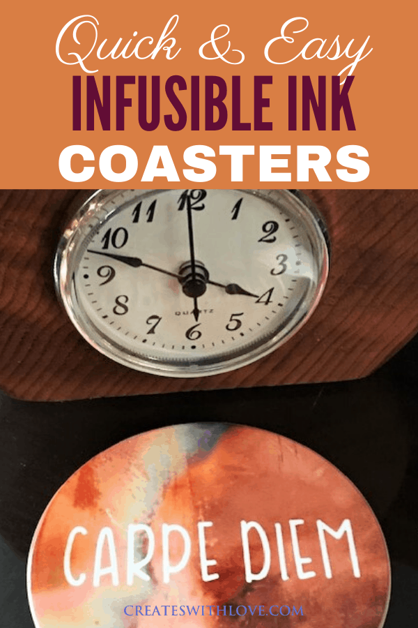 infusible ink coaster with a clock