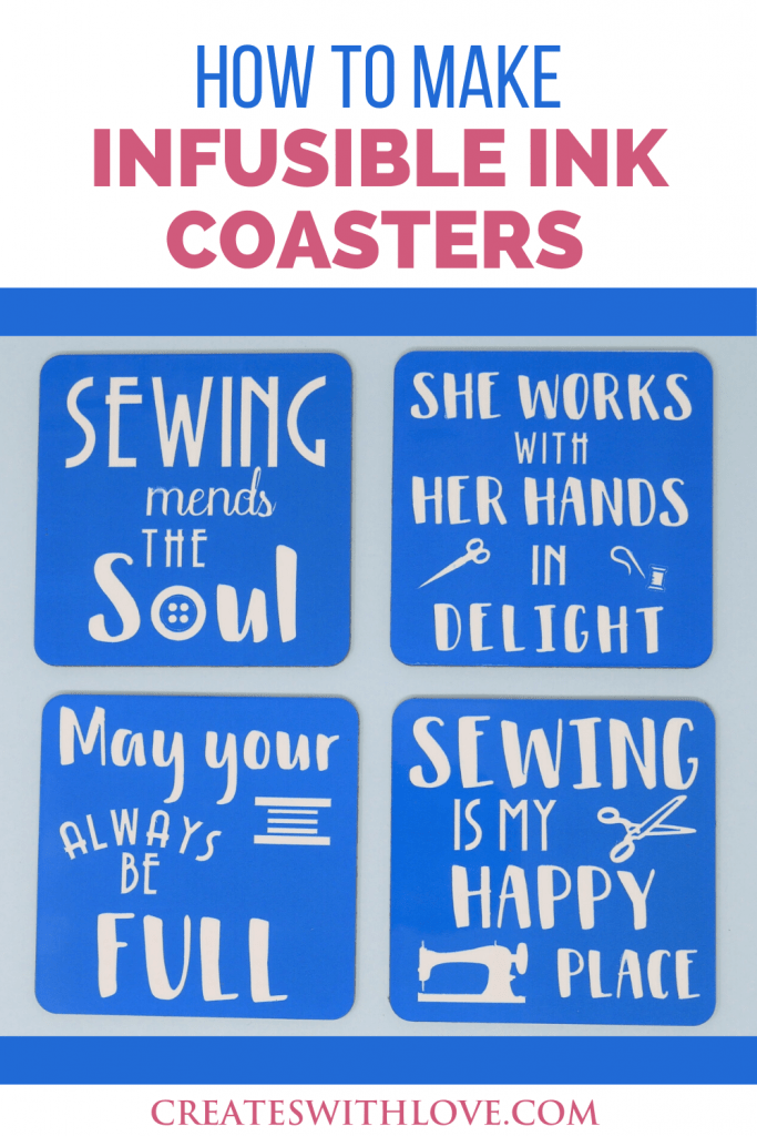 Cricut Infusible Ink Coasters designed in four themes.  These can be used as coasters or home decor.  Follow along this easy tutorial to learn how to design and make these vibrant beautiful Cricut Infusible Ink Coasters #cricut #cricutmade #cricutinfusibleink #cricutmaker #createswithlove #denisehumphrey #sewing