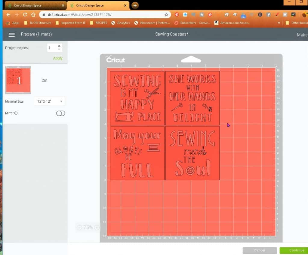 The Cricut Design Space will send the coaster images onto the virtual Cricut Mat for any needed changes.