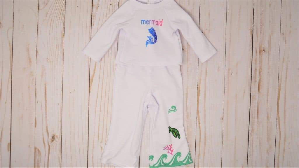front view of mermaid doll outfit